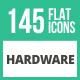 145 Hardware Flat Icons
