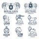 Design Template of Logos or Badges with Lions