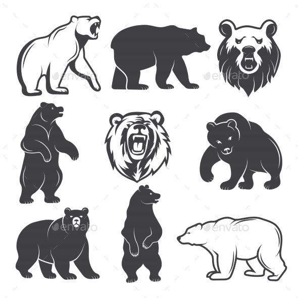 Monochrome Illustrations of Stylized Bears - Animals Characters