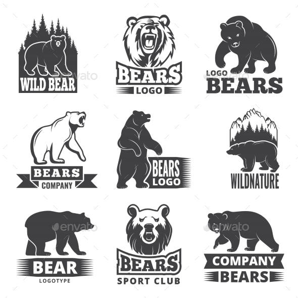 Sport Labels with Illustrations of Animals - Animals Characters