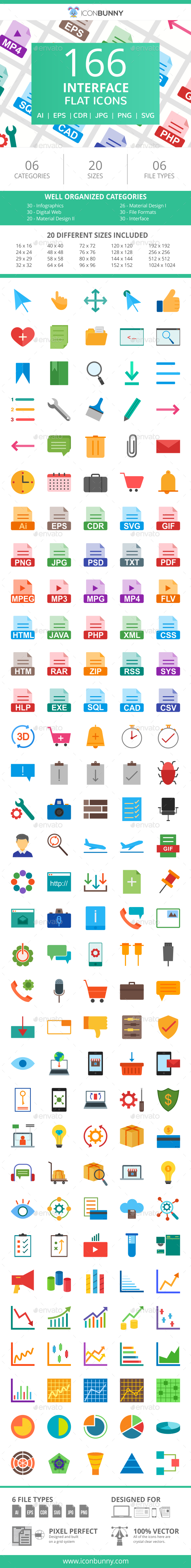 166 Interface Flat Icons - Icons