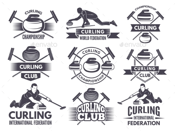 Monochrome Badges of Curling - Web Elements Vectors
