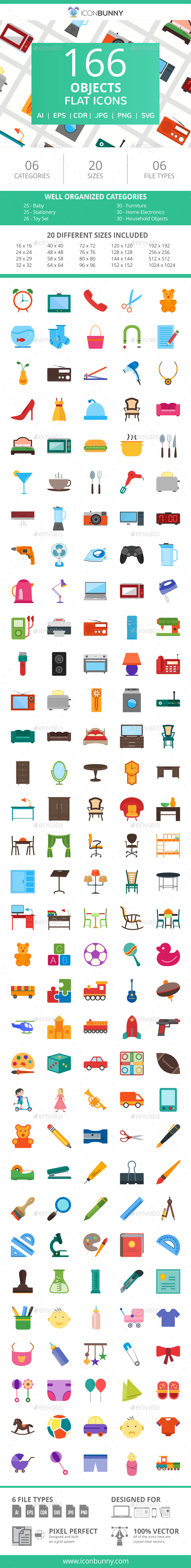 166 Objects Flat Icons - Icons