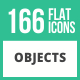 166 Objects Flat Icons