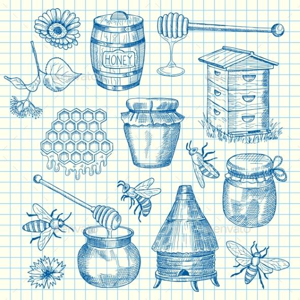 Vector Set of Hand Drawn Honey Elements - Miscellaneous Vectors