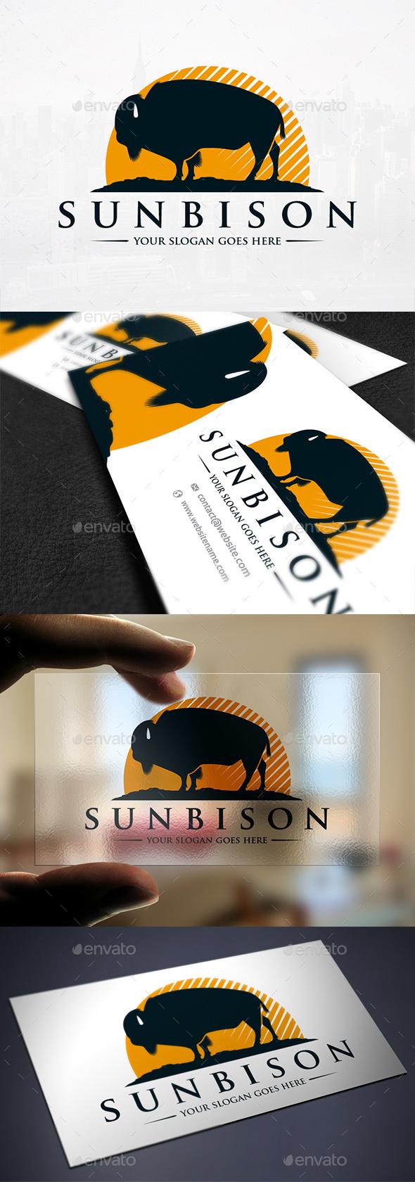 Sun Bison Logo Template - Animals Logo Templates