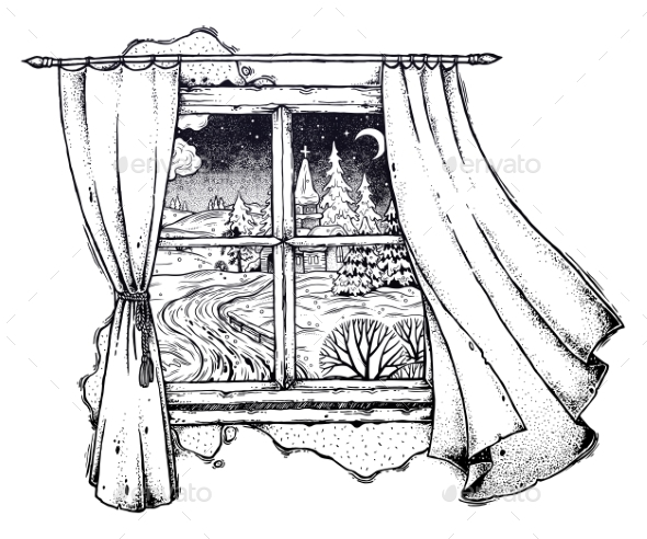 Window Curtains and Snowy Winter Village Landscape - Landscapes Nature
