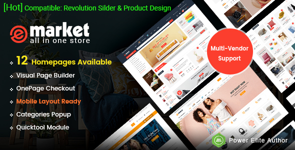 eMarket - Multi-purpose MarketPlace OpenCart 3 Theme (12 Homepages & Mobile Layouts Included) - OpenCart eCommerce