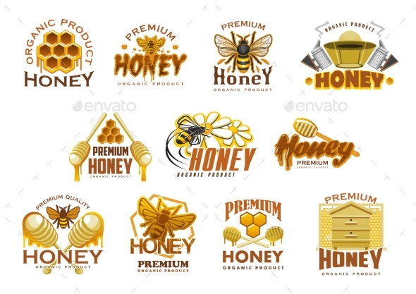 Honey Premium Sweet Food Icon with Bee and Comb - Industries Business
