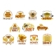 Honey Premium Sweet Food Icon with Bee and Comb - GraphicRiver Item for Sale