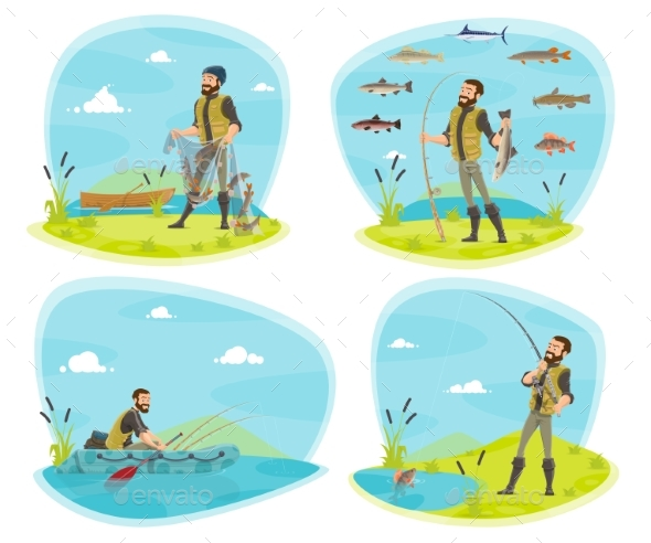 Fishing Sport Icon of Fisherman with Fish - Sports/Activity Conceptual