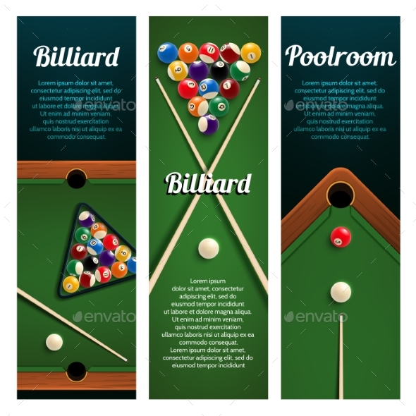 Billiards Sport Club or Pool Room Banner with Ball - Sports/Activity Conceptual