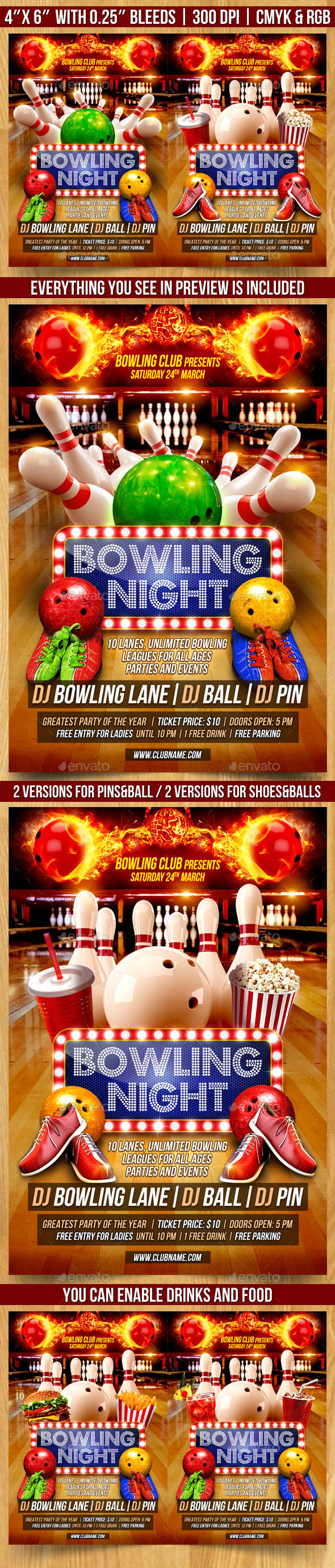Bowling Night Flyer - Clubs & Parties Events