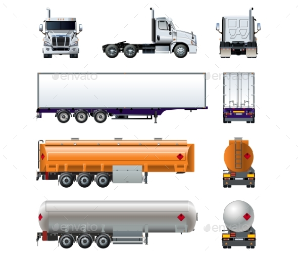 Vector Realistic Semi Truck Mockup Set Isolated - Man-made Objects Objects