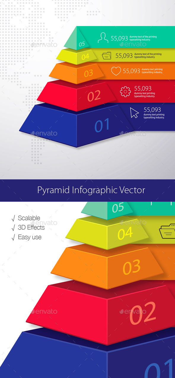 Pyramid 3D Infographic - Infographics