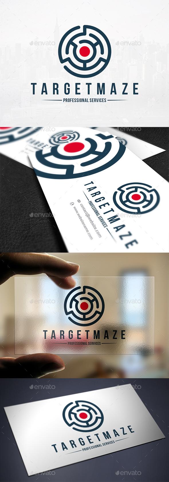 Target Maze Logo Template - Vector Abstract