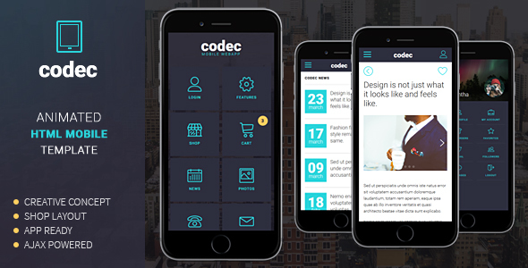 Codec - Mobile HTML Template - Mobile Site Templates