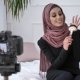 Young Beautiful Indian Girl in Hijab Blogger Talking on Camera, Smiling, Talking at the Camera - VideoHive Item for Sale