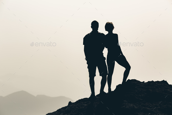 Couple celebrating, reaching life goal and love - Stock Photo - Images