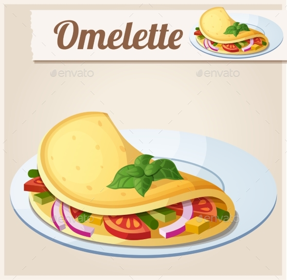 Omelette with Vegetables - Food Objects