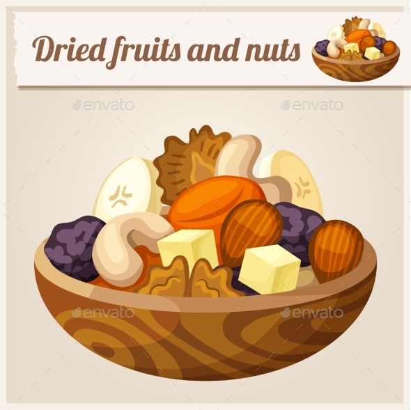 Dried Fruits and Nuts - Food Objects
