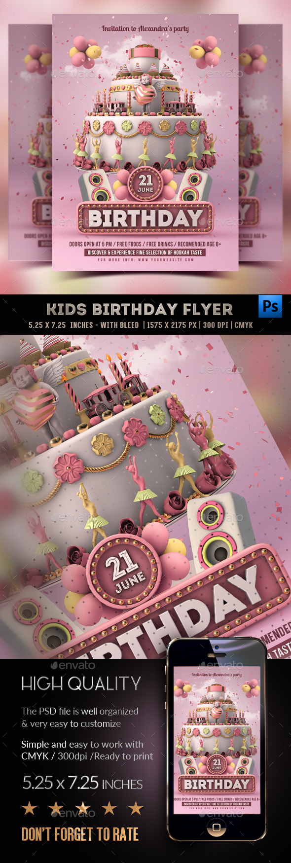 Kids Birthday Party - Girls Flyer - Clubs & Parties Events
