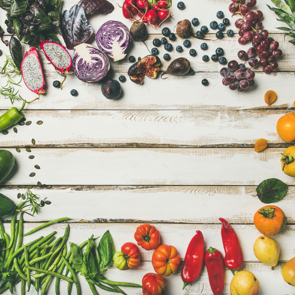 Flat-lay of fresh fruit, vegetables, greens and superfoods, square crop - Stock Photo - Images