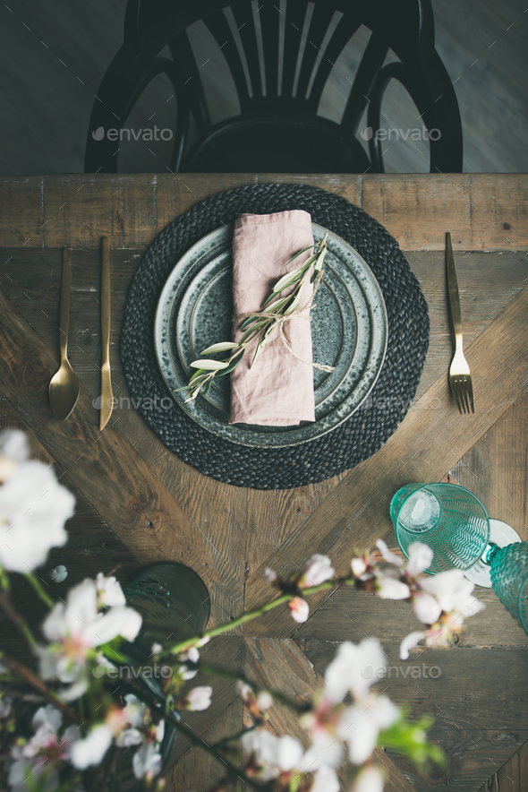 Flat-lay of Spring Easter Table setting with flowers - Stock Photo - Images