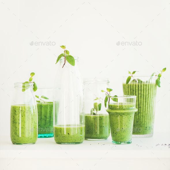 Matcha green smoothie with chia seeds and fresh mint - Stock Photo - Images
