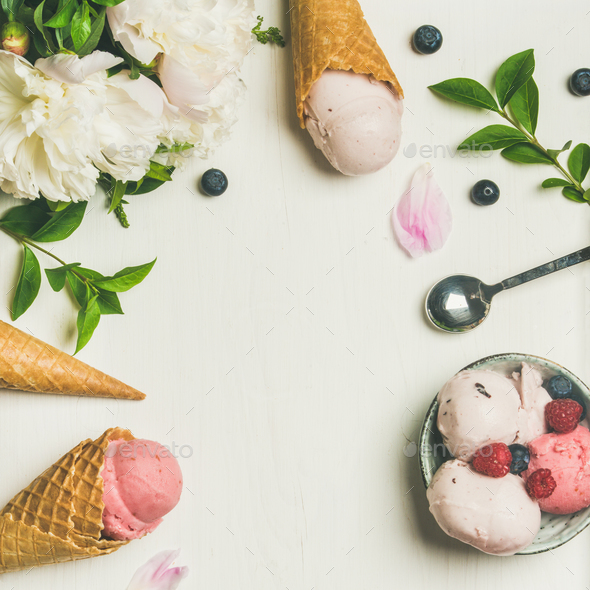 Flat-lay of ice cream scoops and peonies, square crop - Stock Photo - Images