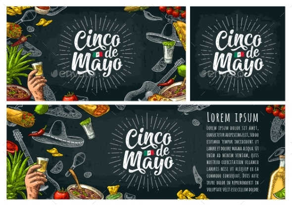 Cinco De Mayo Lettering and Mexican Traditional - Miscellaneous Seasons/Holidays