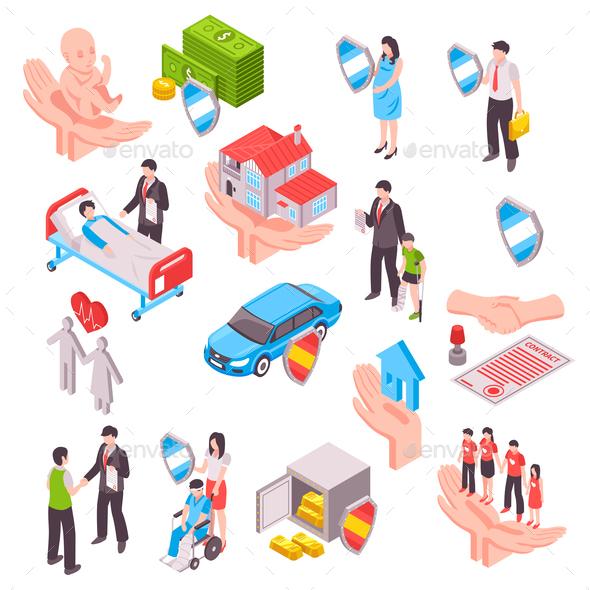 Insurance Services Isometric Set - Health/Medicine Conceptual