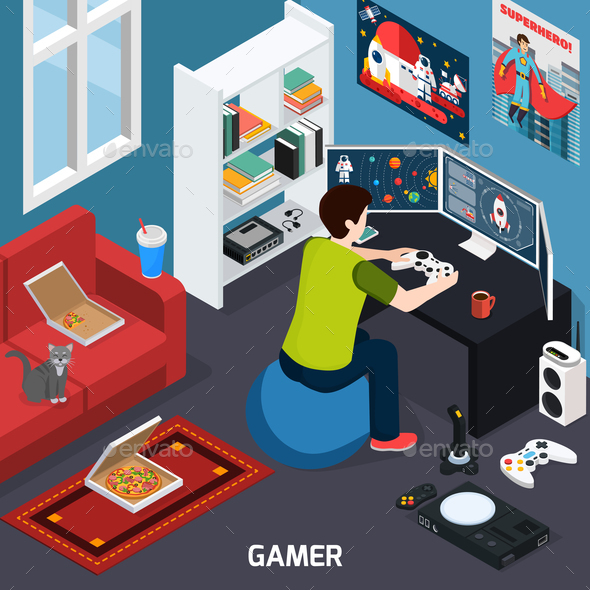 Gamer Isometric Composition - Food Objects