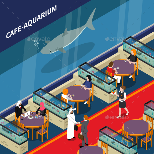 Cafe Aquarium Isometric Composition - Food Objects