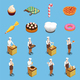 Confectionery Chef Isometric Icons Set
