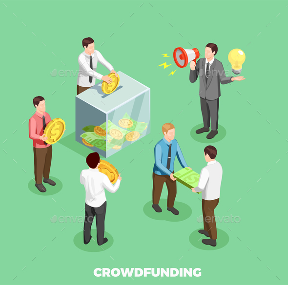 Crowdfunding Isometric Composition - People Characters