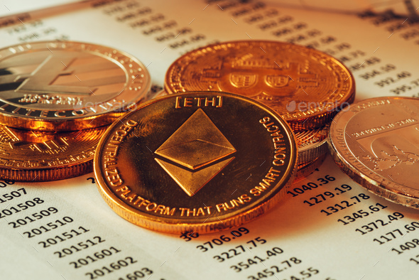 Ethereum cryptocurrency coin - Stock Photo - Images