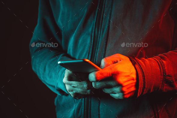 Smartphone in male hands, close up - Stock Photo - Images