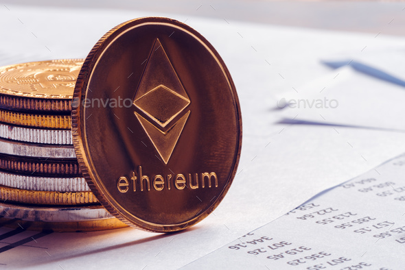 Ethereum cryptocurrency coinage - Stock Photo - Images