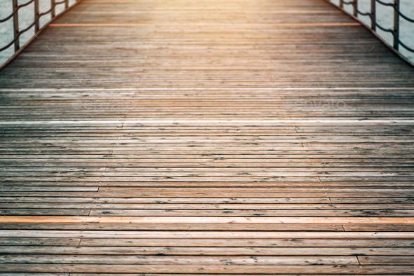 Wooden pier bridge - Stock Photo - Images