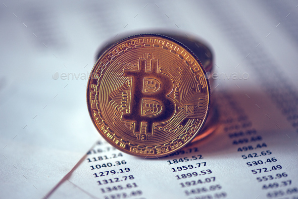 Bitcoin cryptocurrency coin - Stock Photo - Images