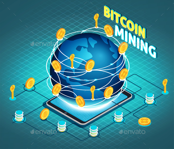 Crypto Currency Mining Isometric Composition - Business Conceptual