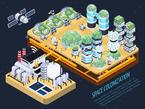 Isometric Space Colonization Concept - Miscellaneous Vectors