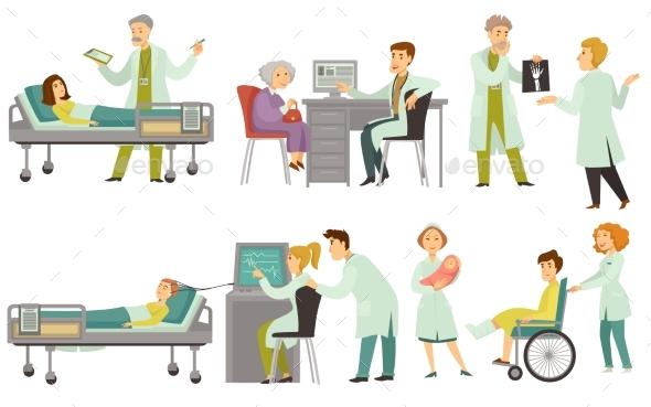 Doctors Examine and Treat Patients - Health/Medicine Conceptual