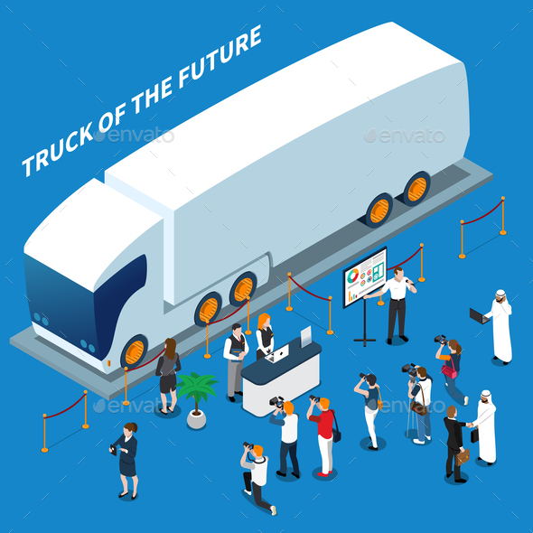 Electric Truck Presentation Isometric Composition - Business Conceptual