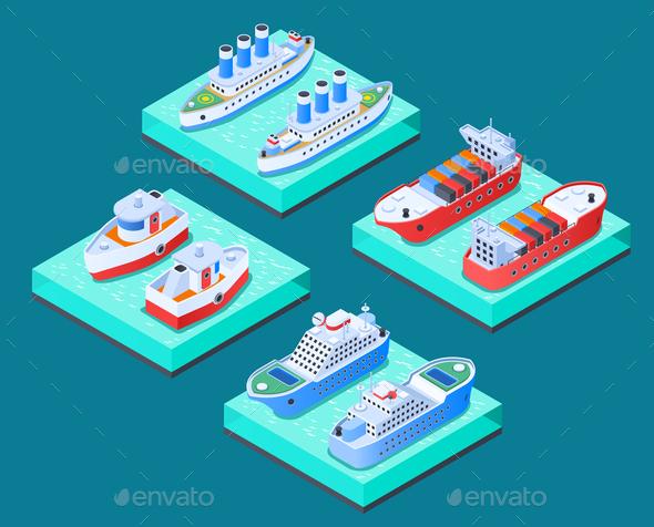 Ships Isometric Design Concept - Miscellaneous Vectors