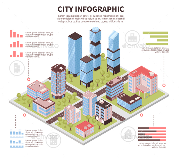 City Infographic Poster Isometric - Buildings Objects