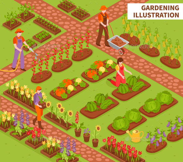 Gardening Isometric Composition - Flowers & Plants Nature