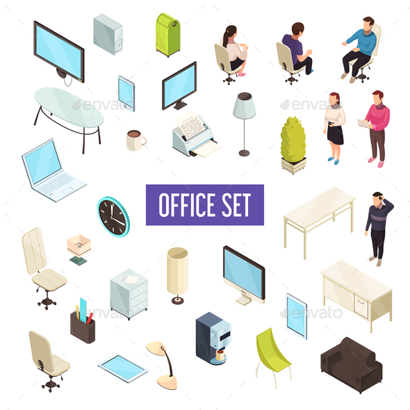 Office Isometric Set - Concepts Business