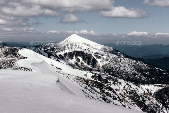 Fantastic spring landscape with snow mountain - Stock Photo - Images